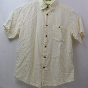 Orvis Short Sleeve Button Down Shirt L Off White